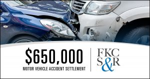 $650,000 settlement for client injured in motor vehicle accident