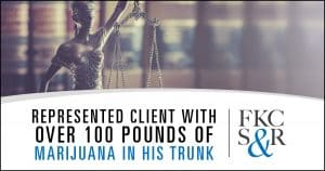 Represented a client who was stopped while traveling and found to have over 100 pounds of marijuana in the trunk of his car