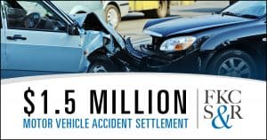 $1.5 million settlement after trial for a man who was injured in a motor vehicle accident