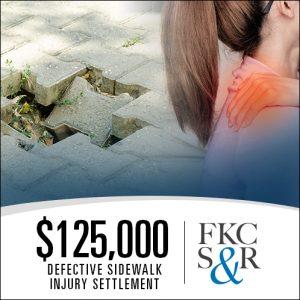 defective sidewalk settlement