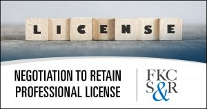 Attorney/licensing agency negotiation allows client to retain professional license