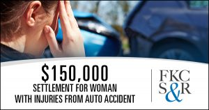 $150,000 settlement for woman with injuries from auto accident